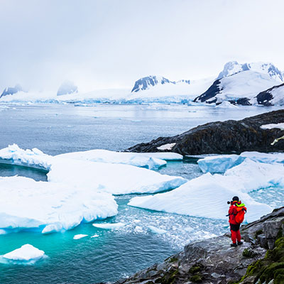 Traveler on an arctic adventure to see a real-life glacier.
