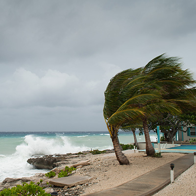 Hurricane growing off the coast of the Cayman islands.