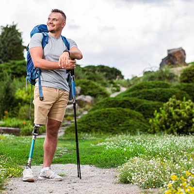 Man traveling with disabilities and travel insurance.