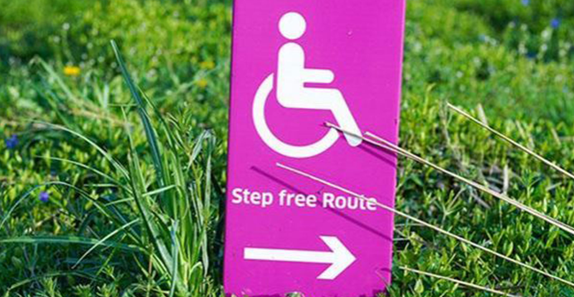 Disabilities ramp sign in grass.