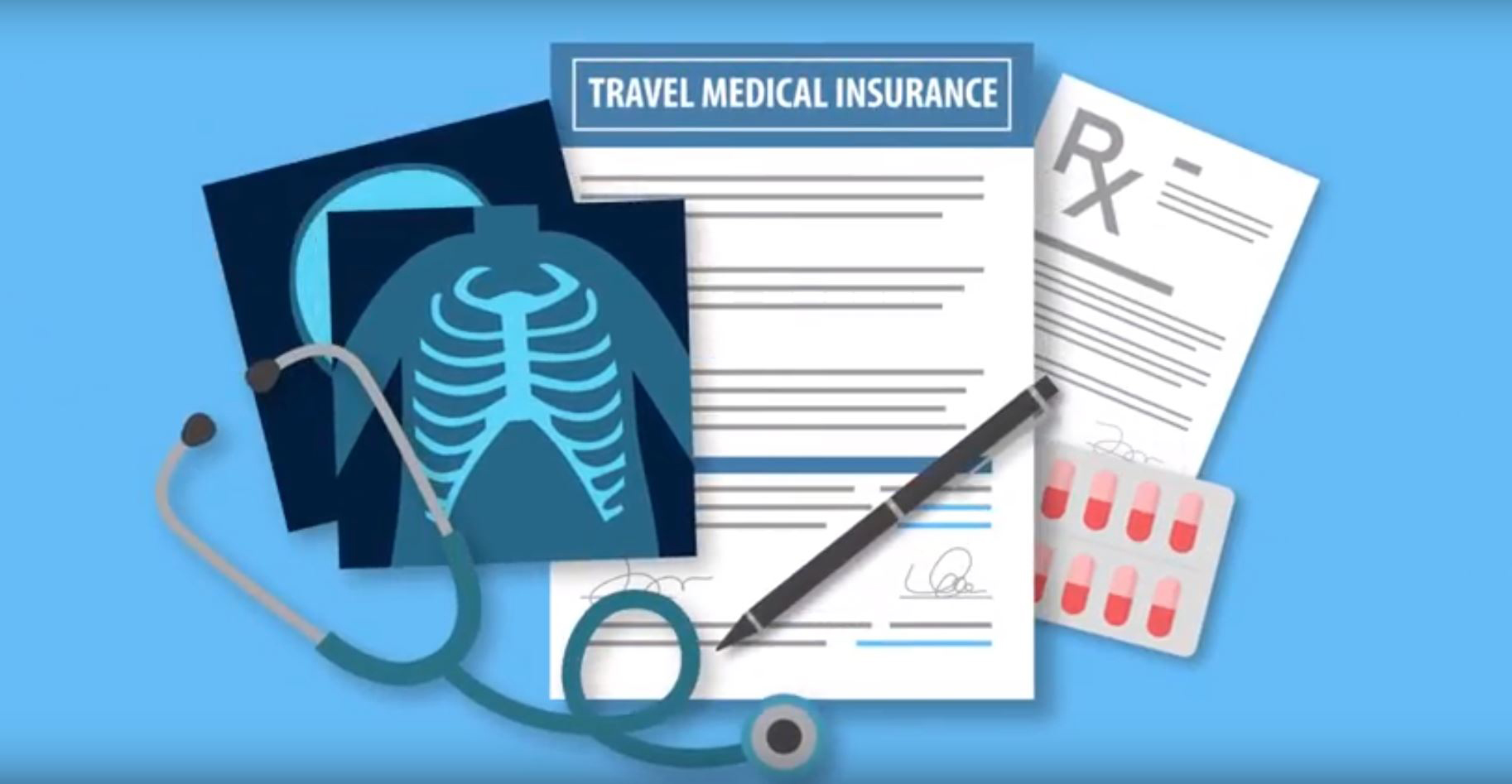 stethoscope-x-ray-travel-medical-policy-with-pen-sitting-on-it